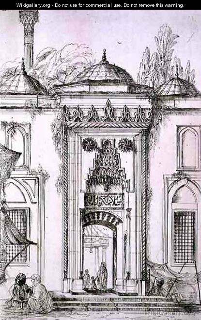 Entrance to the Mosque of Bayazid II, in Constantinople, from