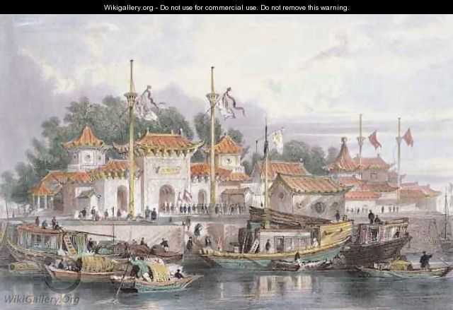 Military Station of the Chinese near the City of Chokian - (after) Thomas Allom