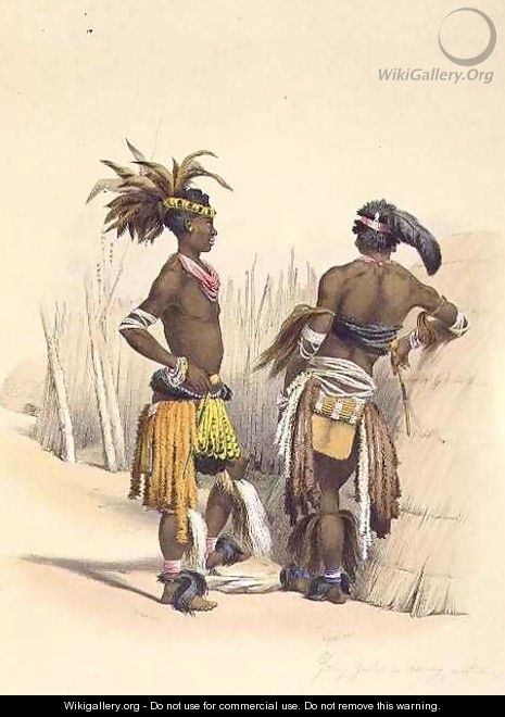 Umbambu and Umpengulu, Young Zulus in Dancing Costume - (after) Angas, George French