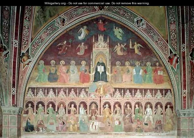 The Triumph of Catholic Doctrine, personified in St. Thomas Aquinas, from the Spanish Chapel - Bonaiuto (Andrea da Firenze) Andrea di