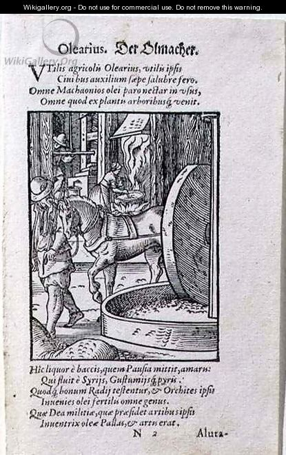 Oil Maker, illustration from the Latin edition of