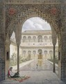 The Court of the Alberca in the Alhambra, Granada - Leon Auguste Asselineau