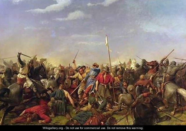 Battle of Stamford Bridge - Peter Nicolai Arbo - WikiGallery.org, the ...