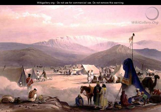 The Encampment at Dadur, with the Entrance to the Bolan Pass, from