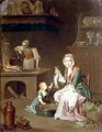 Kitchen interior with a woman showing a fish to a child and a servant by a stove - Johann Daniel Bager