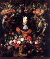 Garland of Flowers and Fruit with the Portrait of Prince William III of Orange - Jan Davidsz. De Heem