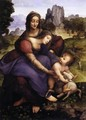 St Anne with the Virgin and the Child Embracing a Lamb - Francesco Melzi