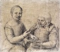 Old Woman Studying the Alphabet with a Laughing Girl - Sofonisba Anguissola