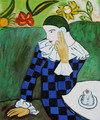 Harlequin Leaning on his Elbow - Pablo Picasso (inspired by)