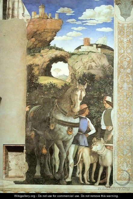 Servants with a Horse and Dogs - Andrea Mantegna