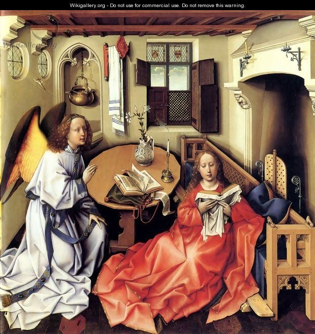 Annunciation Triptych, central panel - Robert Campin