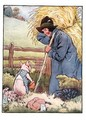 'If you please, Sir', said he, 'will you give me that straw to build a house with', illustration from 'The Three Little Pigs' - Frank Adams