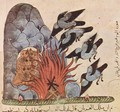 Kalila and Dimna of Bidpai, the owls with their wings make the fire to burn - Syrian Unknown Master
