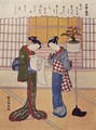 Two girls on a porch - Suzuki Harunobu
