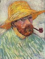 Self Portrait with Straw Hat and Pipe 2 - Vincent Van Gogh