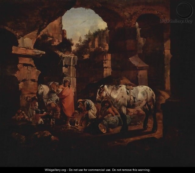 Gypsy camp in ancient ruins - Johann Heinrich Roos
