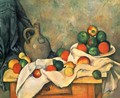 Still life, drapery, jug and fruits - Paul Cezanne