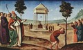 Pugliese-altar scene Madonna Enthroned, St. Peter and St. John the Baptist, St. Nicholas of Bari and St. Dominic, predella right scene - Piero Di Cosimo