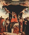 Enthroned Madonna, angels and saints, left St. Joseph, St. Bernard, St. John the Baptist on the right, St. Anthony Abbate - Lorenzo Lotto