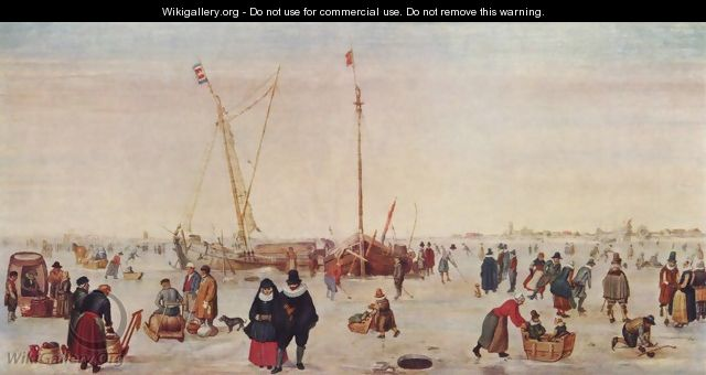 Winter landscape with ice skaters - Hendrick Avercamp
