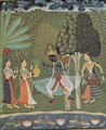 Ragamala series, Scene Vasanta Ragini (Spring), Krishna dances to the music of two girls - Indian School