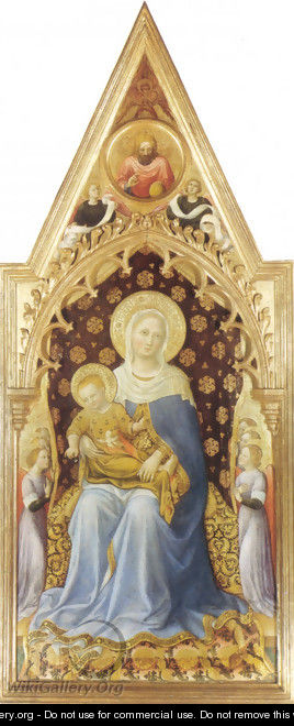 Quaratesi-polyptych, main board, Scene Madonna with Angels - Gentile Da Fabriano