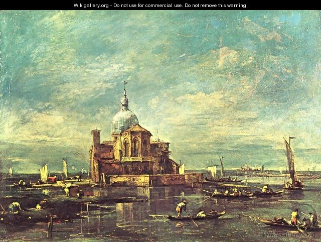 Capriccio, church scene on a small island in the lagoon - Francesco Guardi