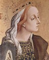 Polyptych altar of San Francesco at Montefiore dell 'Aso, left outer panel of St. Catherine of Alexandria, Detail - Carlo Crivelli