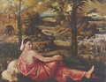 Dormant woman with a white lap dog in a landscape - Cariani