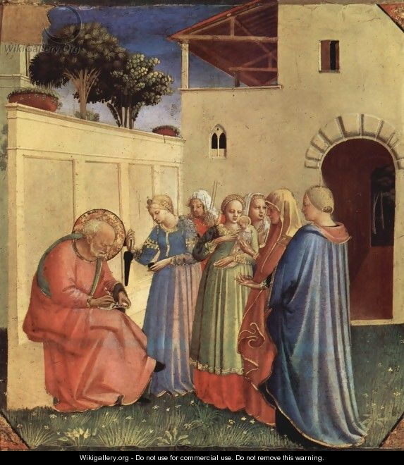 Inclusion of the name for baptism, a fragment of a polyptych - Angelico Fra