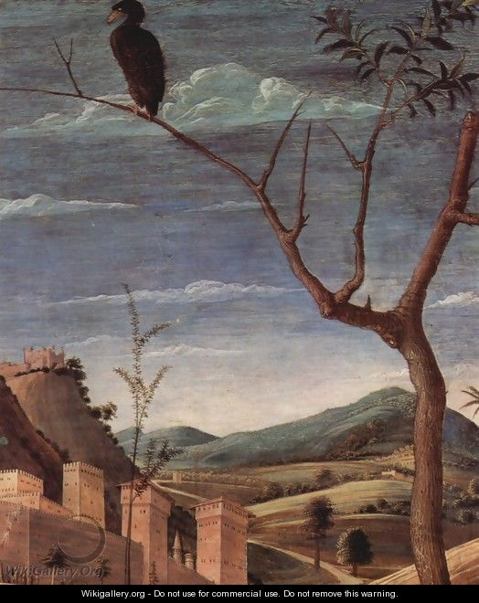 Christ on the Mount of Olives to the Garden of Gethsemane, detailed city landscape - Andrea Mantegna