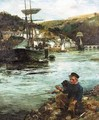 Boys Fishing In Looe Harbour - Robert Reid