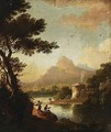 Anglers In A River Landscape - German School