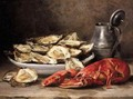 Still Life Of Lobster And Oysters - Eugene Claude