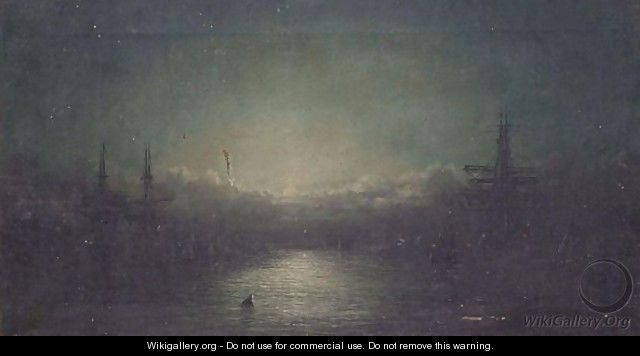 Moonlit Harbour - William Adolphus Knell