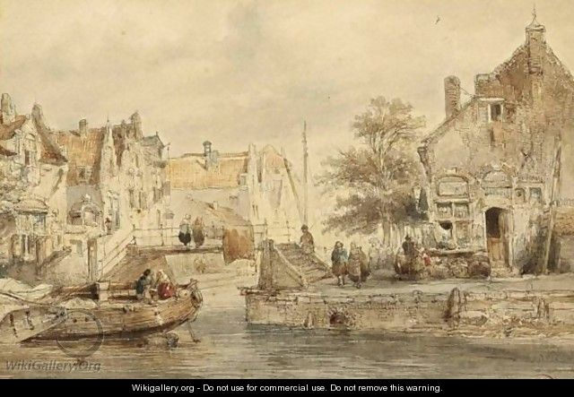 A Town View With Figures By A Canal - Salomon Leonardus Verveer