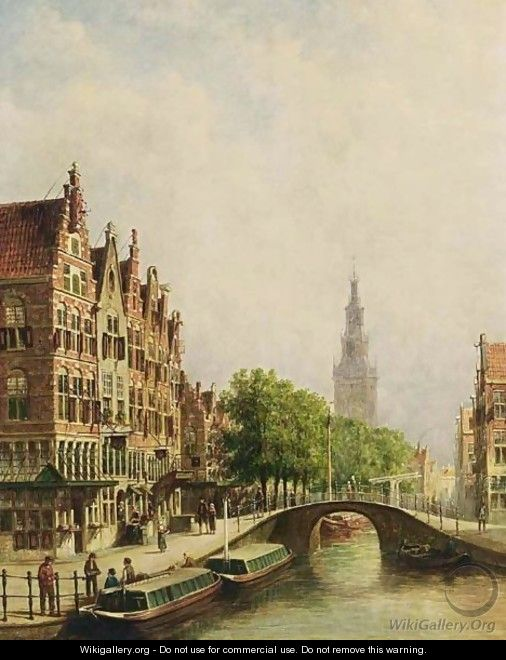 A View Of A Canal With The Westerkerk In The Background, Amsterdam - Pieter Gerard Vertin