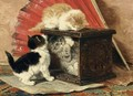 Three Kittens Playing By A Stove - Henriette Ronner-Knip