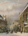 Villagers In The Streets Of A Wintry Town - Johannes Franciscus Spohler
