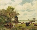 A Summer Landscape With A Tea House On The River Vecht - Willem Roelofs