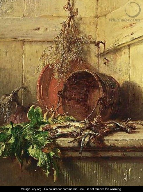 A Kitchen Still Life With Vegetables And Sardines - Maria Vos
