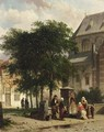 Figures Behind The Church, Woerden - Cornelis Springer