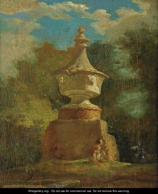 View Of A Garden With A Classical Monument - French School