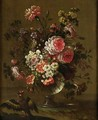 Still Life Of Flowers In Vases With Birds A Pair Of Paintings - (after) Pierre-Nicolas Huillot