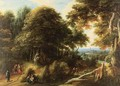 Extensive Landscape With Travelers And A Town In A Distance - (after) Jaques D'Arthois