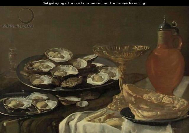 Still Life With Oysters, Jug And Tazza - Antwerp School