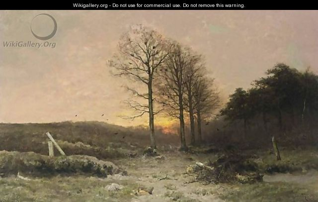 A Wooded Landscape At Dusk - Louis Apol