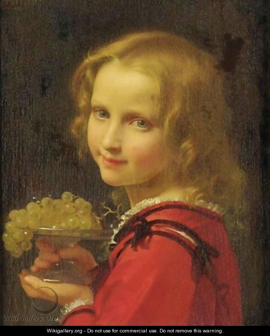 Girl With Grapes - Leon-Jean-Basile Perrault
