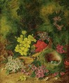 Still Life With Fruit And Still Life With Flowers And Birds Nest A Pair - Vincent Clare