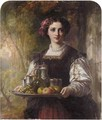 A Young Lady Carrying A Tray With Grapes, Apples And Drinks - (after) Charles Baxter